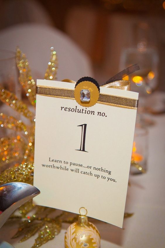 New Year wedding table numbers with resolutions
