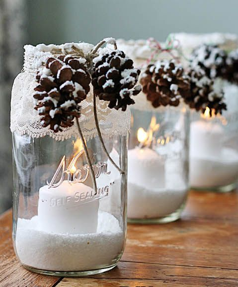 snowy pinecones and lanterns as a seasonal accent