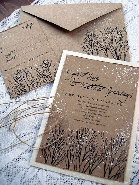 snowy winter wedding stationery