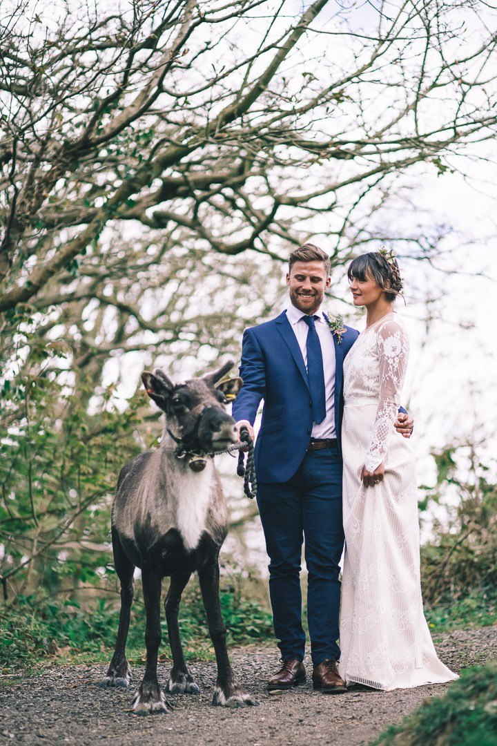 This boho luxe wedding shoot included many nature elements and even a real reindeer
