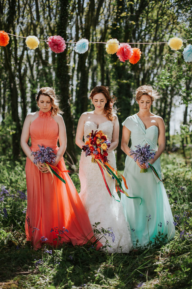 This colorful fiesta wedding shoot took place in the woodland