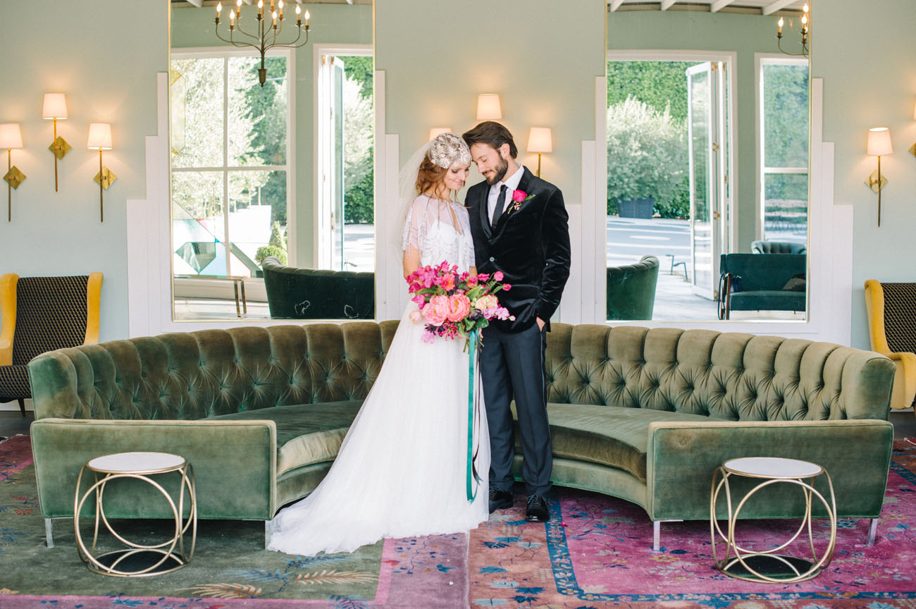 This modern wedding shoot with bold touches took place at the Fig House in LA