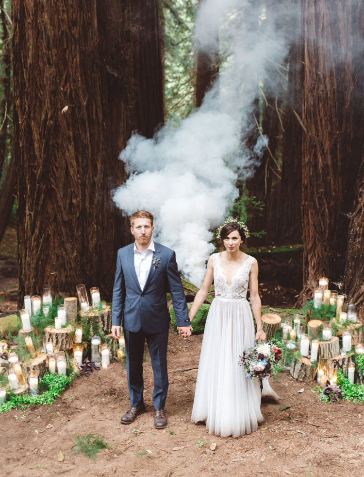 this gorgeous couple got married under a blue moon right in the forest