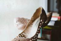 02 Beautiful beaded laser cut bridal shoes