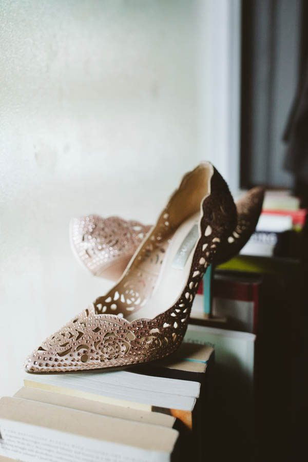 Beautiful beaded laser cut bridal shoes