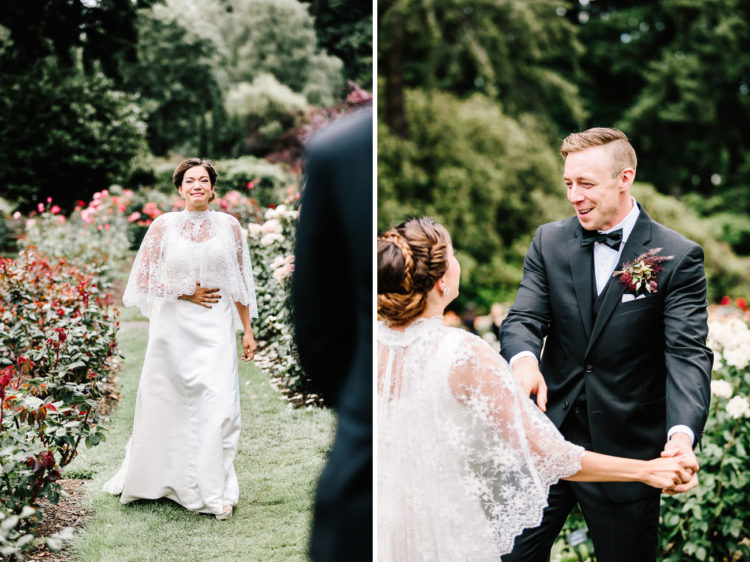 The bride was wearing a unique dress with a lace capelet, and the groom was rocking a classical tuxedo