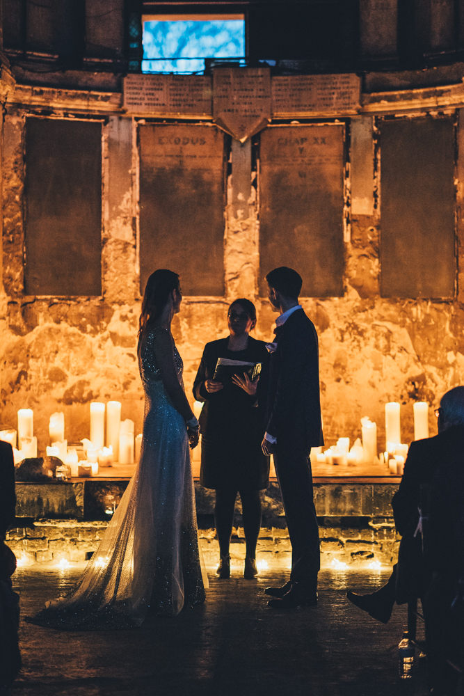 The couple chose romantic industrial venues for the ceremony and reception