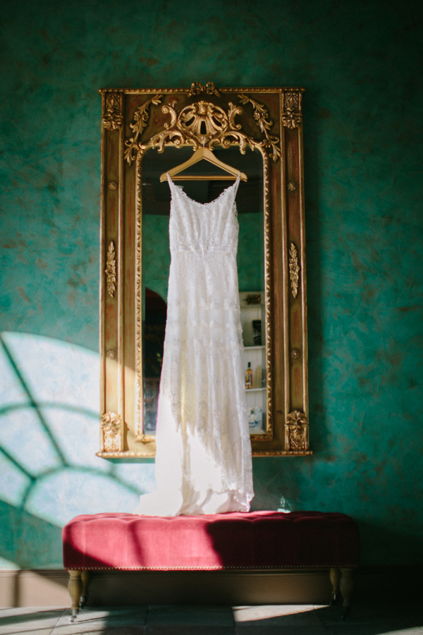 The wedding dress was a lace one, backless, sleeveless and very romantic