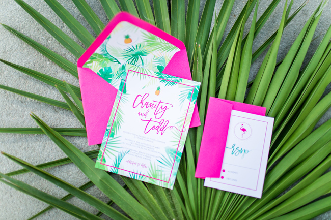 The wedding stationery was done in the color of the whole shoot was hot pink