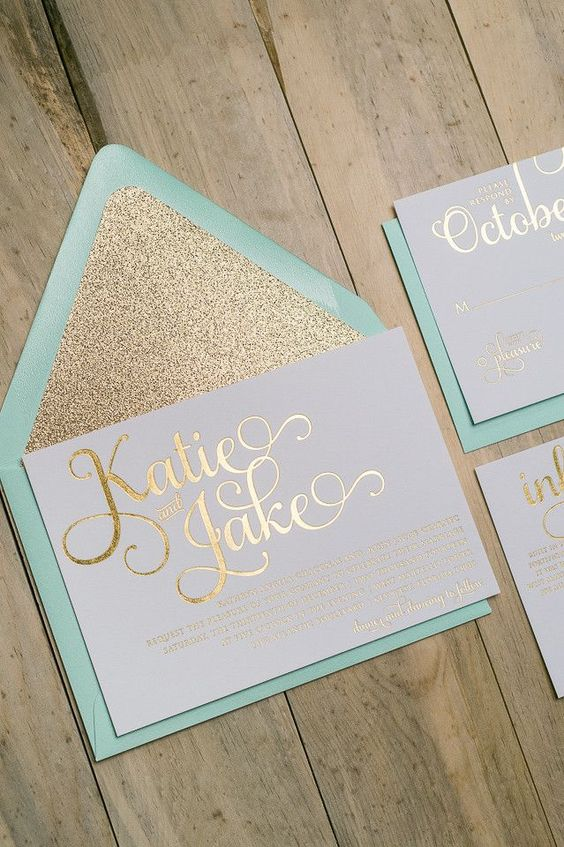 amazing mint and gold glitter wedding invitations, a mint envelop and a glitter liner