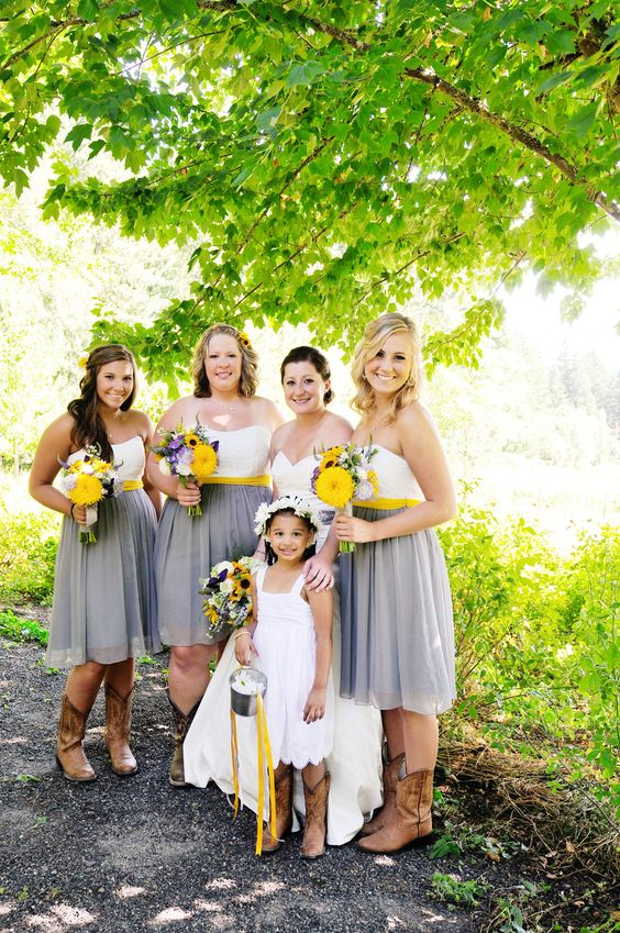 bridesmaids' separates in grey and white, yellow sashes