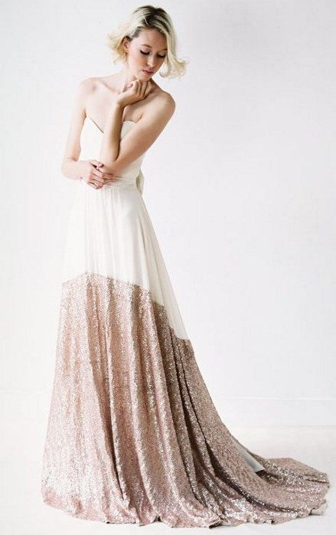 color block strapless wedding dress with copper sequins