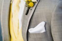 02 light grey suit with a yellow vest, tie and boutonniere, add crispy white to make the look bolder