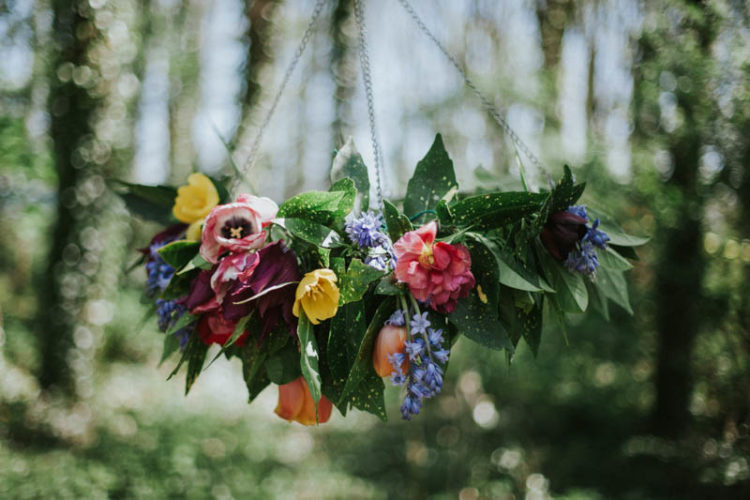 Bold flowers were chosen for wedding shoot decor