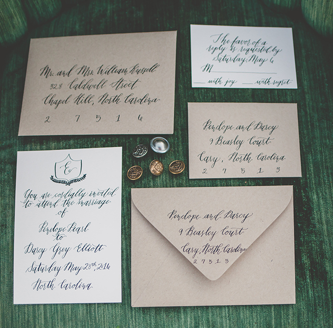 Refined wedding stationery was inspired by the book and the nsames were taken from there