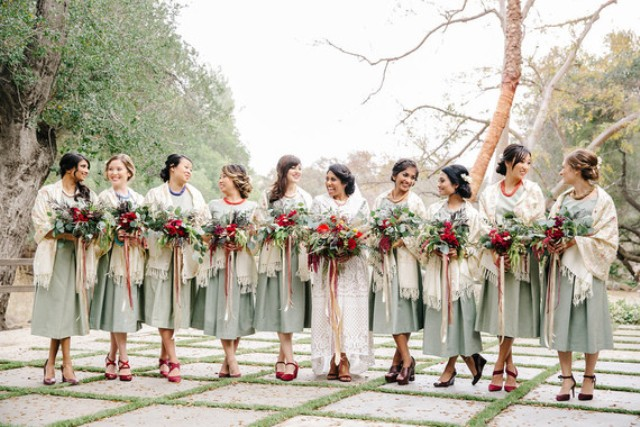 The bridesmaids' style was created by an artist who styled Kashmiri shawals for both ceremonies