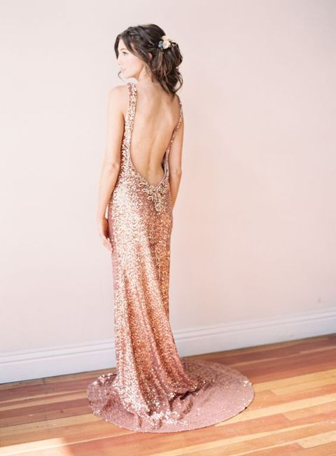 backless sequin copper wedding dress