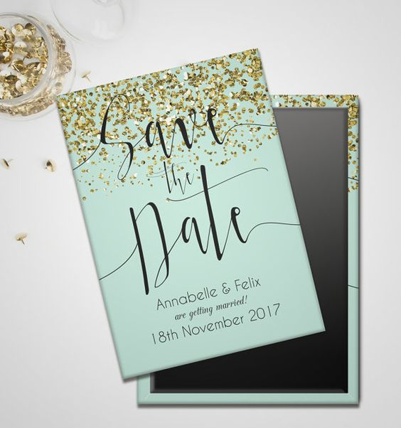 mint save the dates with gold sequins