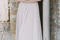 03 neutral wedding dress with straps and a plunging neckline