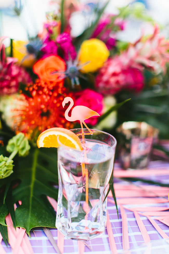 Flamingos were incorporated into the whole shoot, for example, into these drink stirrers