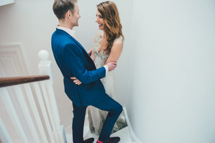 The groom was dressed in blue