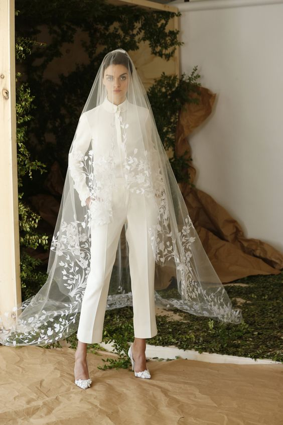 bridal pantsuit with a veil by Carolina Herrera