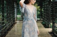 04 dusty blue embellished lace wedding gown with a V-neckline
