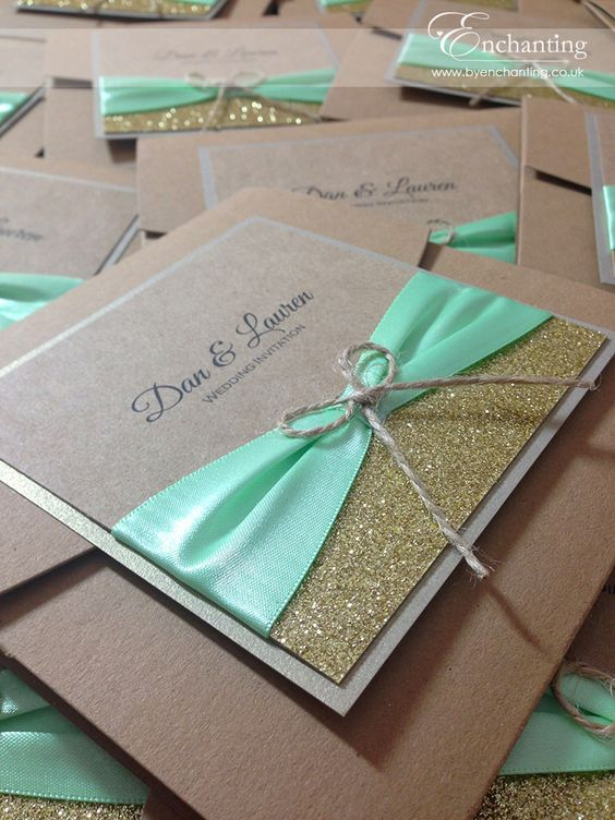 pocketfold invitation with glitter, a mint ribbon and twine