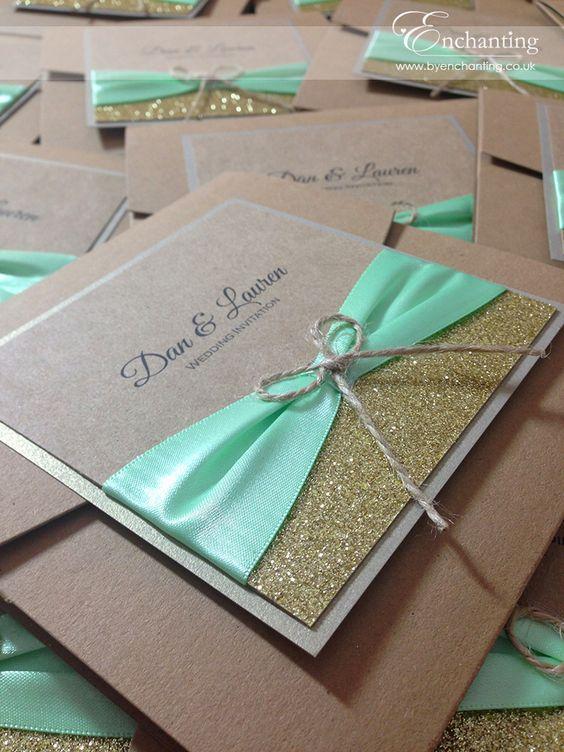 pocketfold invitation with glitter, a mint ribbon and twine