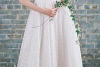 04 spaghetti strap wedding gown with petal print