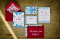 05 The wedding stationery was done in red and blue with lace touches mixing modern and traditional