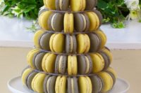 05 grey and yellow macarons for your styled dessert table
