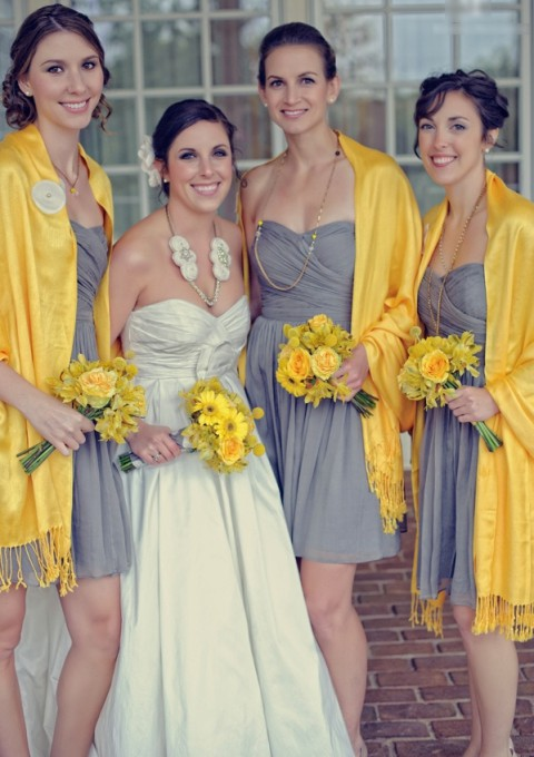 grey bridesmaids' dresses, yellow pashminas