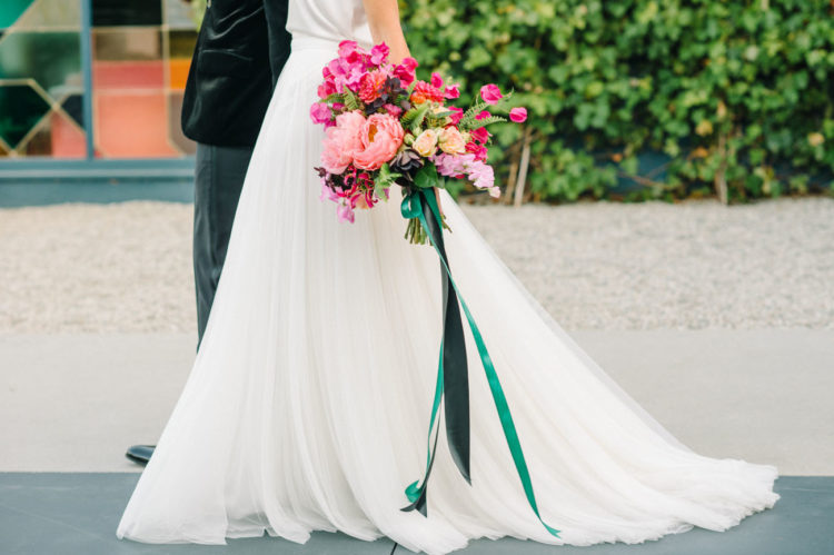 The bridal bouquet was a real piece of art, bold, chic and accentuating