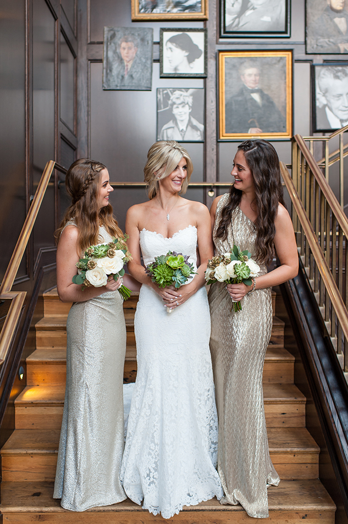 The bridesmaids were wearing sparkly gowns