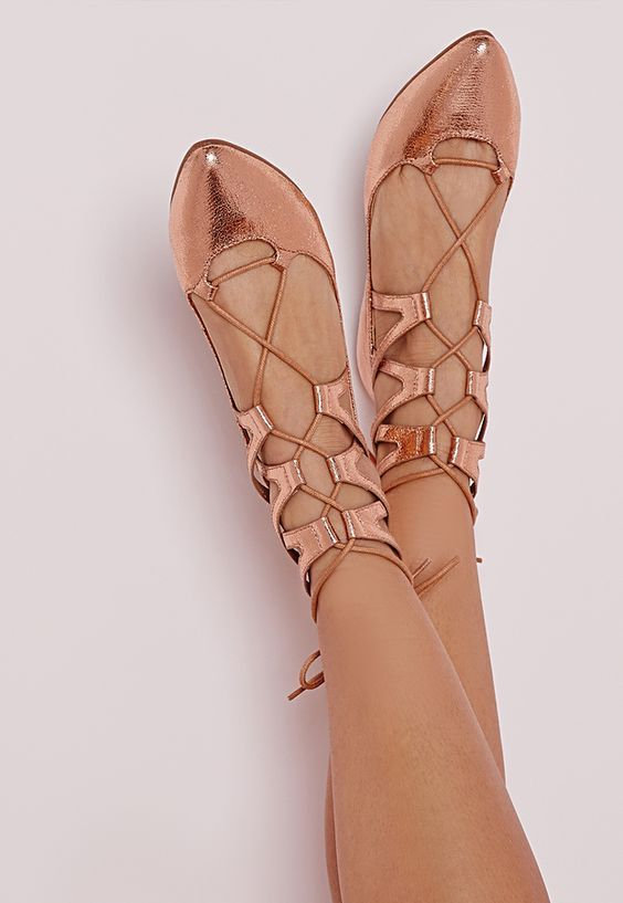 copper lace up flats