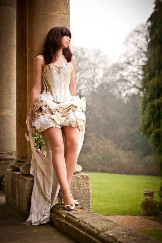 Picture Of High Low Fab Steampunk Wedding Gown With A Corset