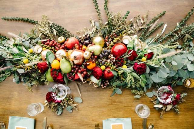 Edible table runners and centerpieces were a good idea as the couple served breakfast, lunch and dinner