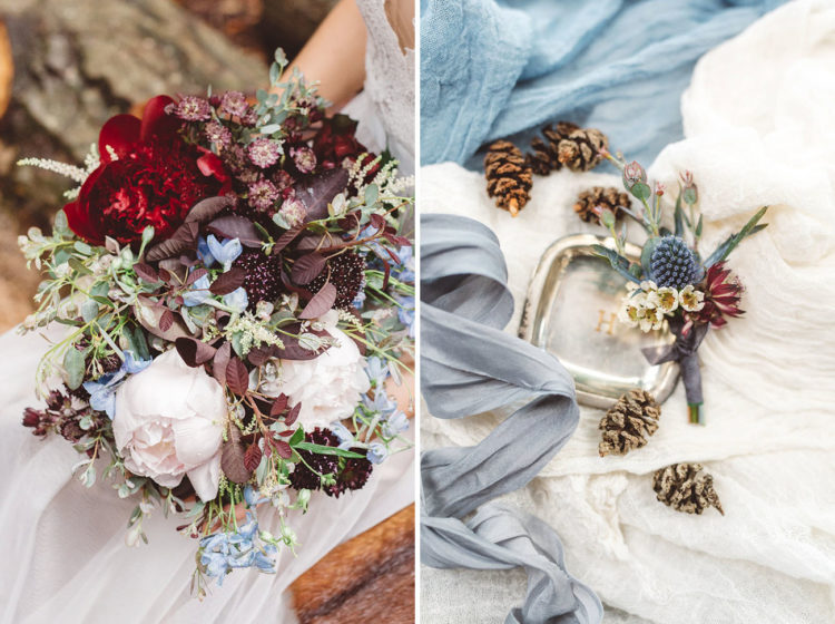 The bridal bouquet was done by the planners, and it looked so textural and forest-like
