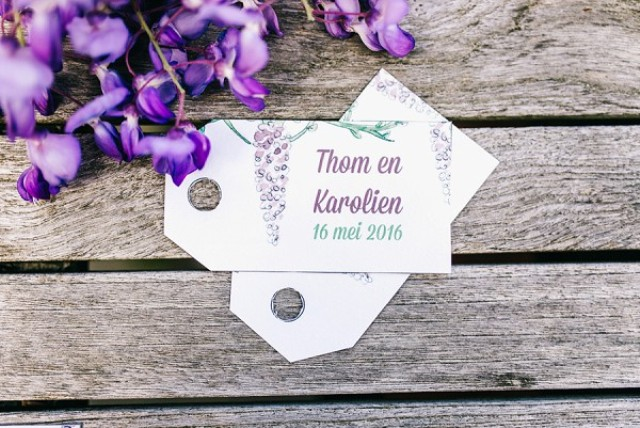 The wedding stationery highlighted the theme, it featured watercolor wisteria