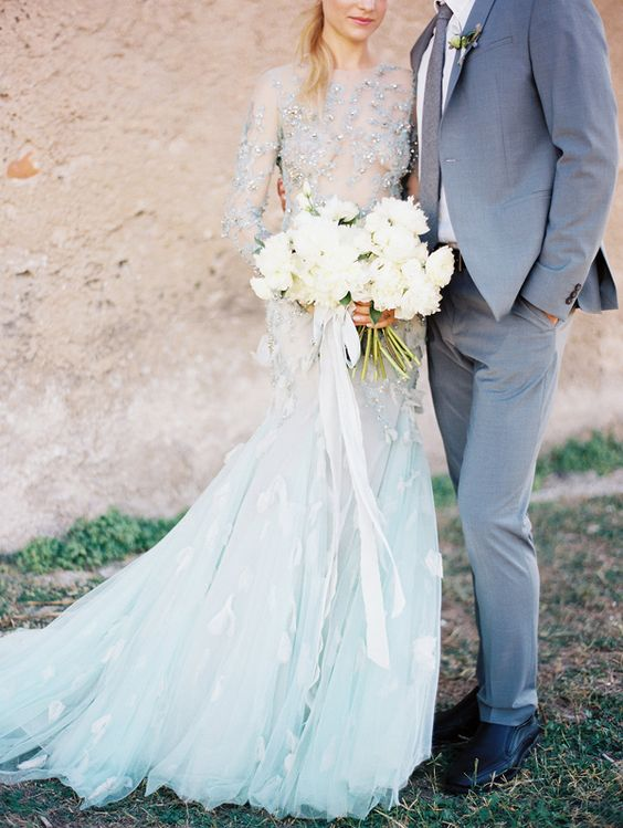 embellished dusty blue wedding gown with long sleeves and appliques
