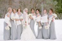07 stunning silver embellished gowns paired with white fur stoles for a refined look