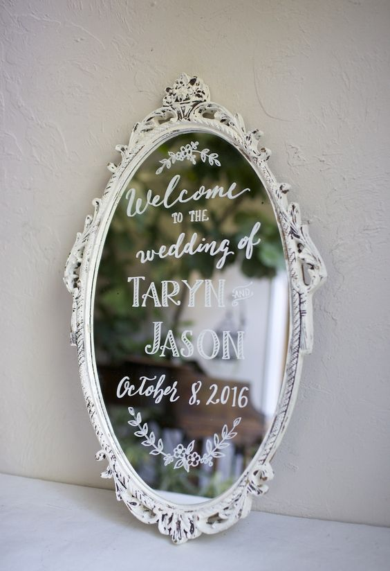 wedding welcome on shabby chic vintage white mirror