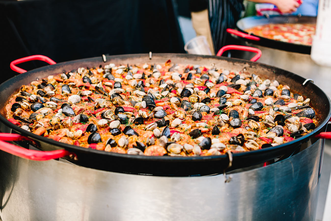 Paella with fresh seafood is a nice idea for a wedding