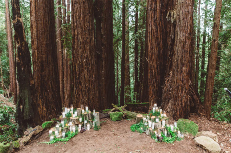 The wedding took place in the midst of candlelit forest, that was the bride's dream