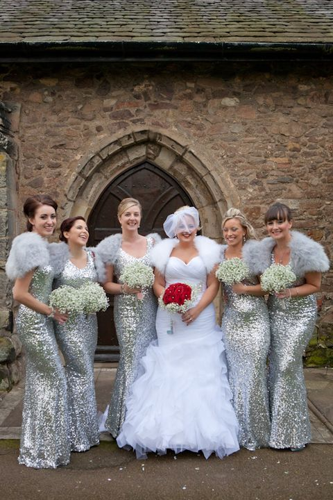 grey shrugs and silver sequin maxi gowns look festive