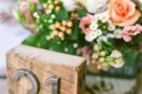 08 rustic industrial table number with metal numbers