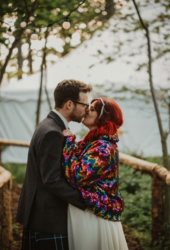 When it got colder, the bride put on a colorful sequin jacket