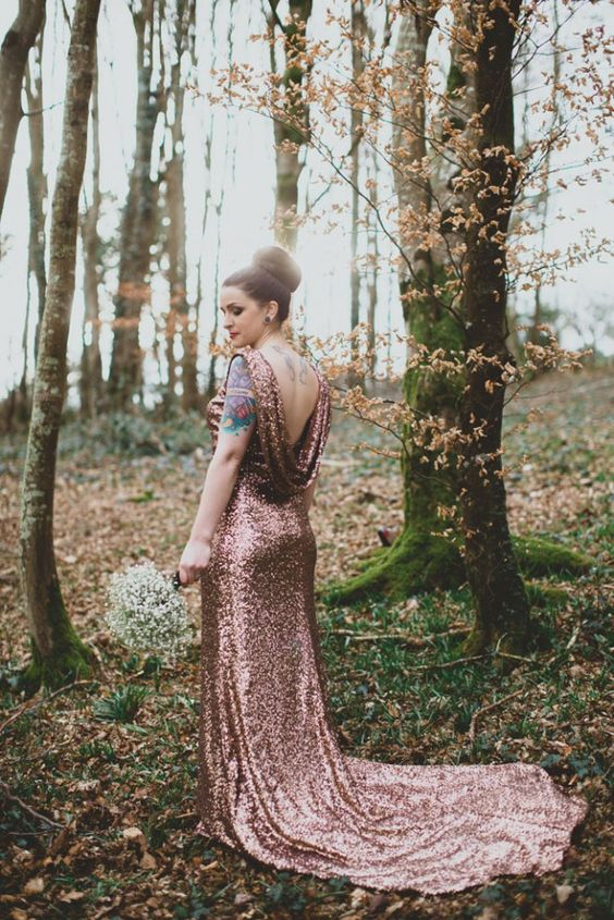 glam copper wedding gown with a statement back