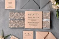 09 grey and peach lace wedding stationery looks elegant